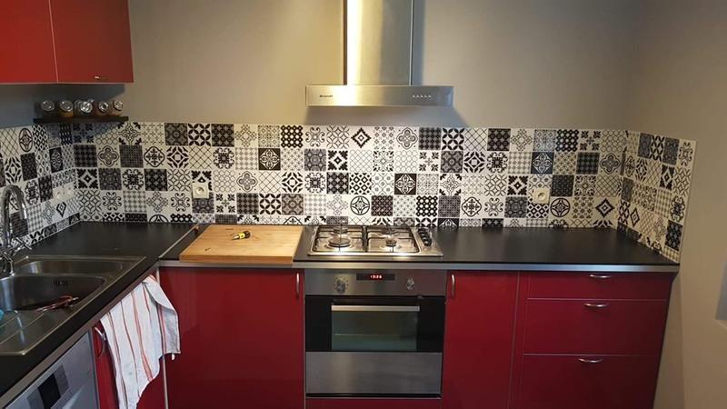 Vintage Evora Smart Tiles Red Tiles Kitchen Wall Tiles