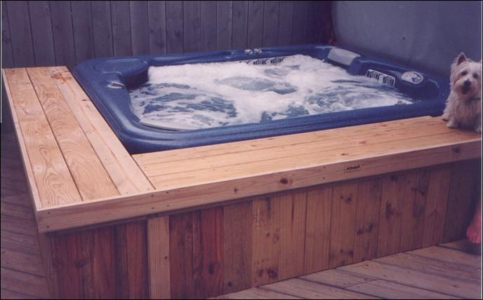 Built in hot tub deck yahoo search results for my for How to build a sunken bathtub