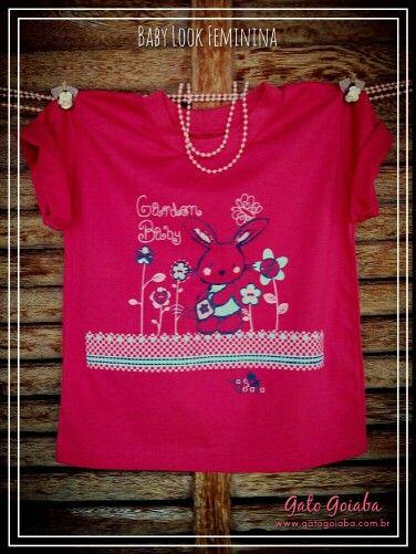 Baby Look Feminina - Modelo Garden / Tamanhos 02 ao 06 anos / Cores : Pink, rosa e branca / Marca Gato Goiaba
