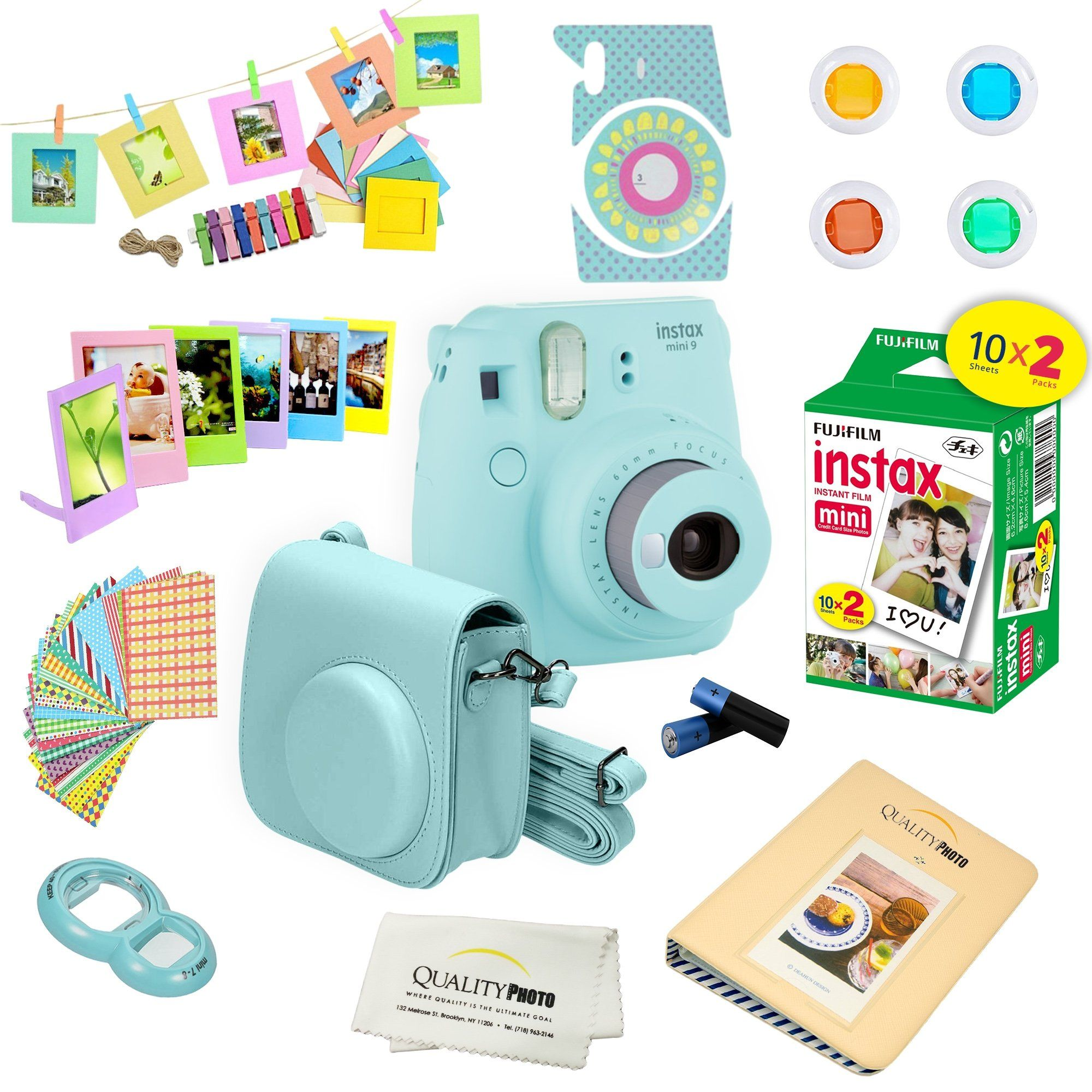 Amazon Com Fujifilm Instax Mini 9 Instant Camera Ice Blue Fuji