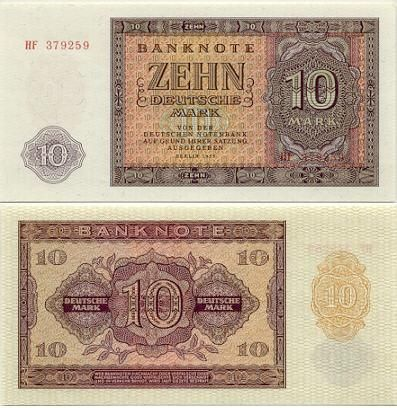 East Germany (DDR) 10 Deutsche Mark 1955 Papel moneda