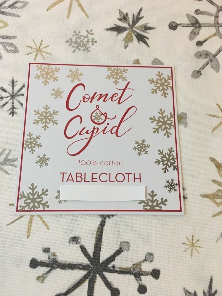 COMET U0026 CUPID White Silver Gold Snowflake Tablecloth Various Sizes Shapes  NWT