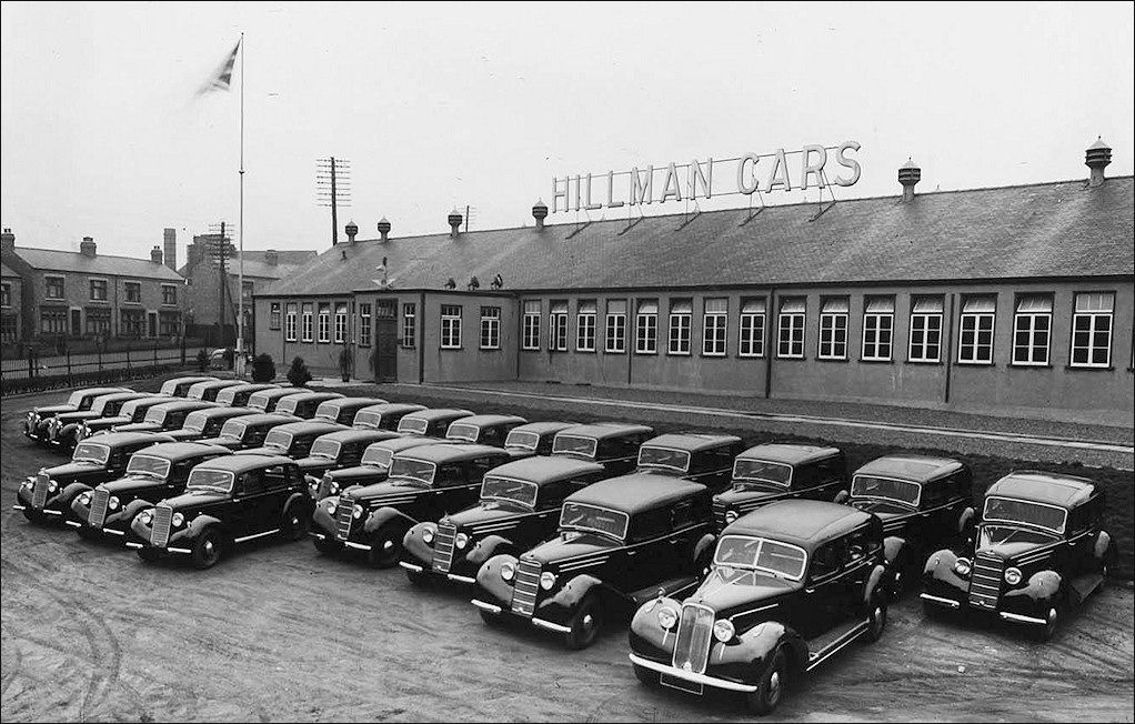 Hillman cars outside the plant in Humber Road in 1936
