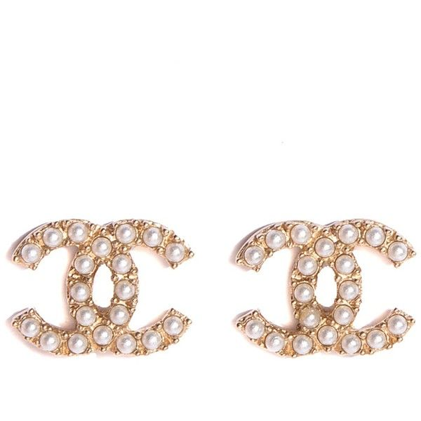 Chanel Pearl Cc Earrings Gold Liked On Polyvore Featuring Jewelry Accessories White Stud Yellow