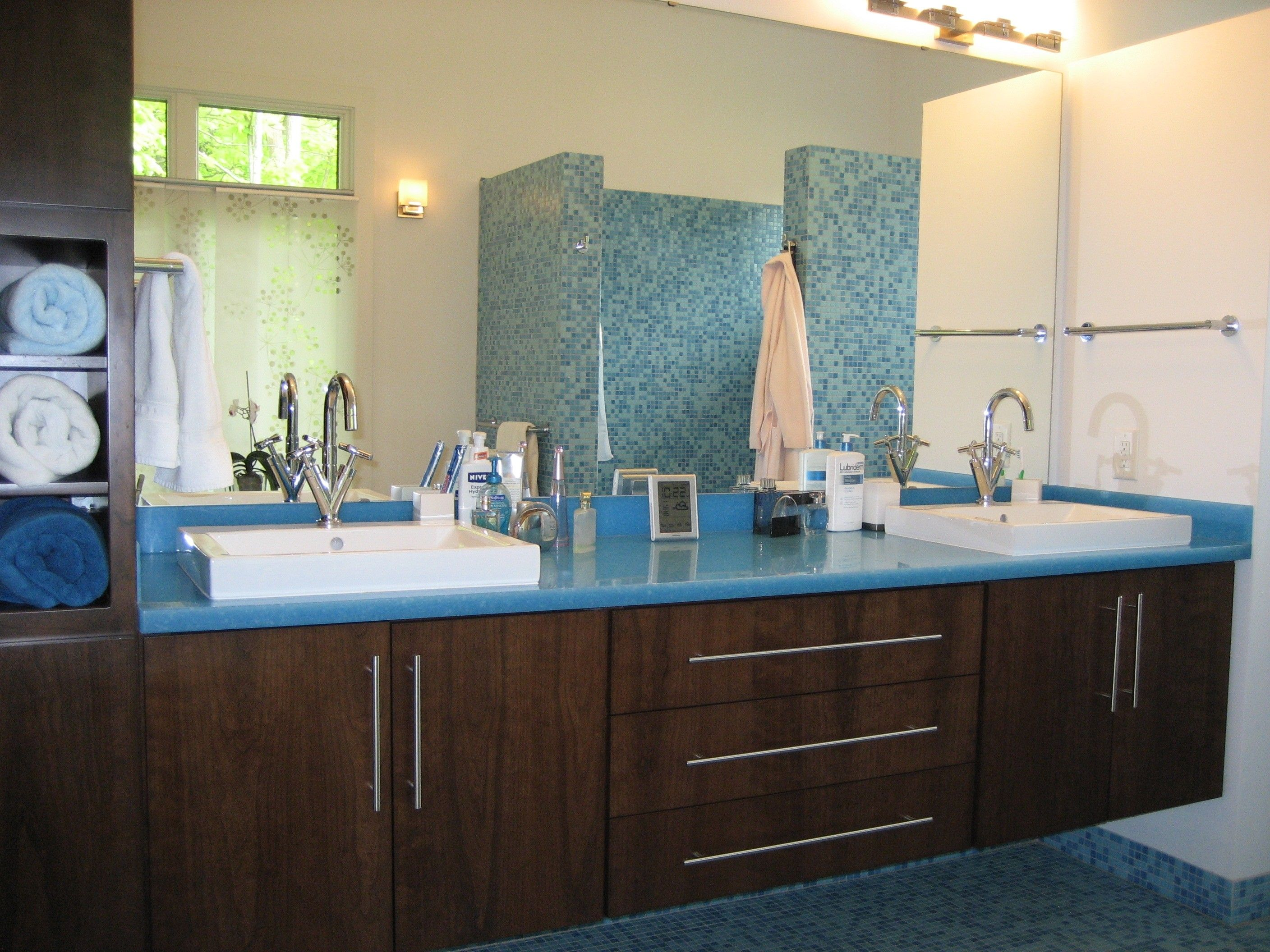 inspiring vanity cabinet design ideas with cozy trough sink modern bathroom design with dark wood - Bathroom Cabinets Kzn