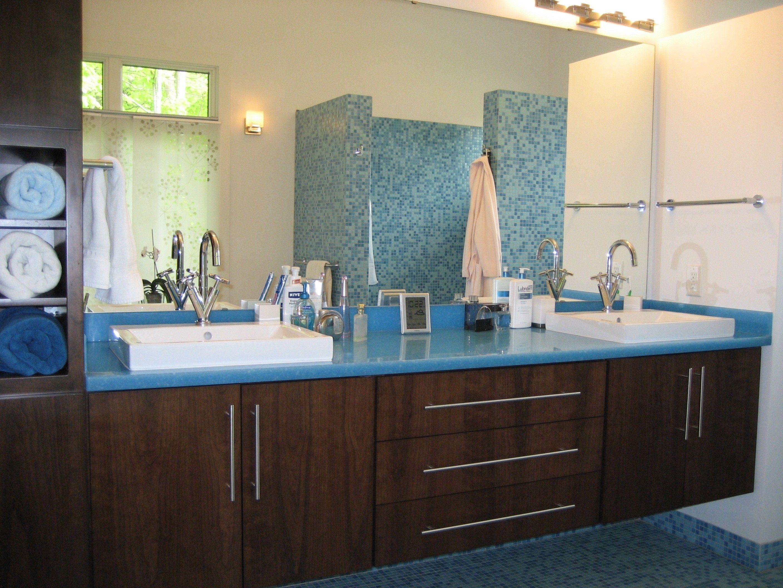 Inspiring Vanity Cabinet Design Ideas with Cozy Trough Sink