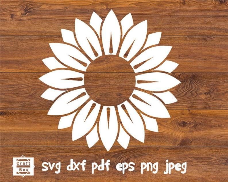 Sunflower Svg Flower Svg Sunflower Stamp Sunflower Bundle Etsy In 2020 Sunflower Stencil Flower Svg Sunflower Template