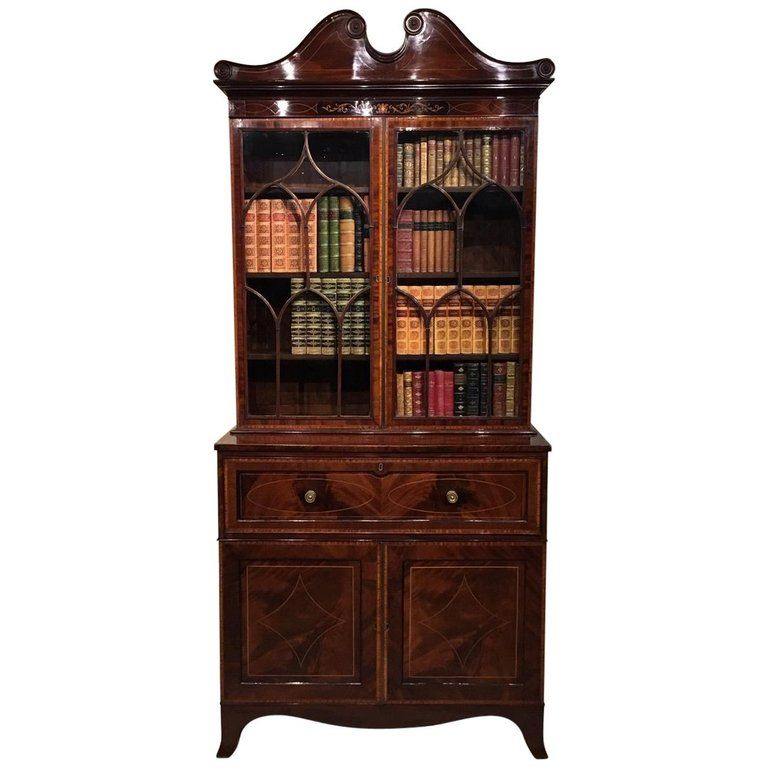 Good Mahogany Inlaid Edwardian Period Secretaire Bookcase #edwardianperiod
