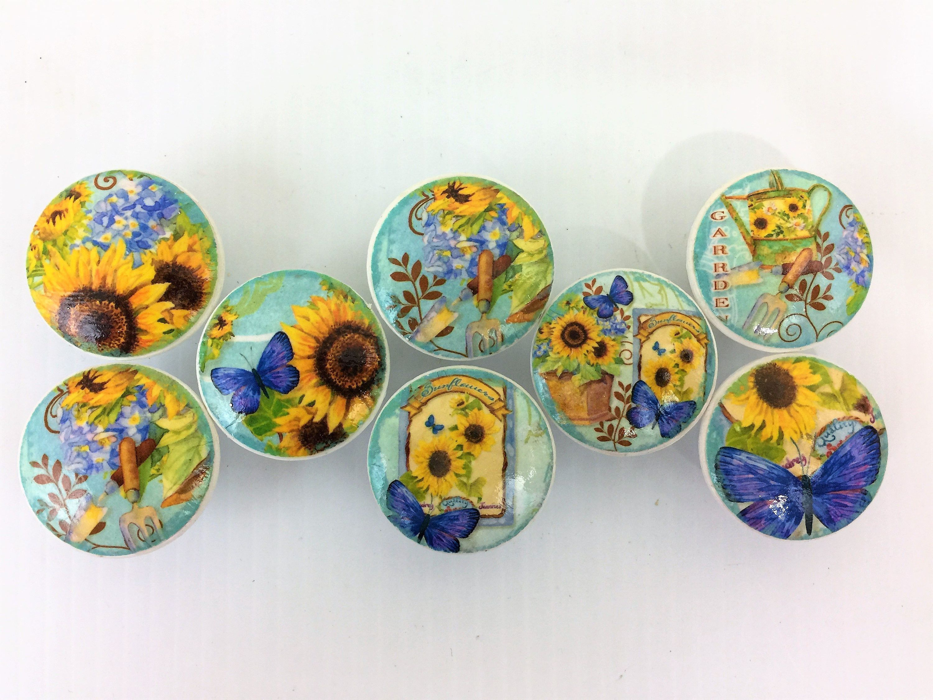 Set Of 8 Sunflowers On Blue Print Cabinet Knobs