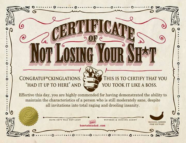 Certificate of Not Losing Your Shit { grins + giggles - fresh employee of the month certificate template word