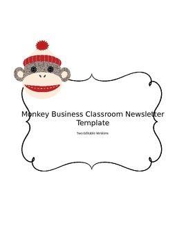 Sock Monkey Editable Teacher Newsletter Template  Newsletter