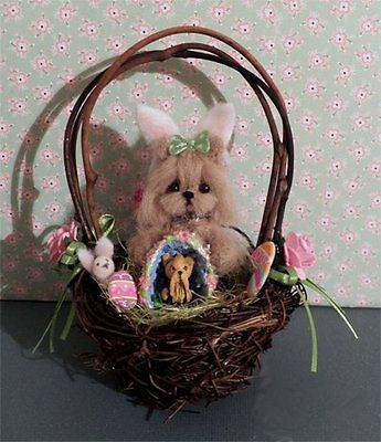 Mini needle felted yorkshire terrier dog in twig and twine easter maltese dogs negle Images