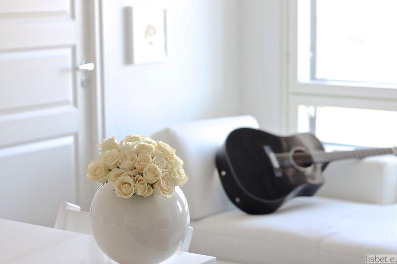 black guitar, white interior