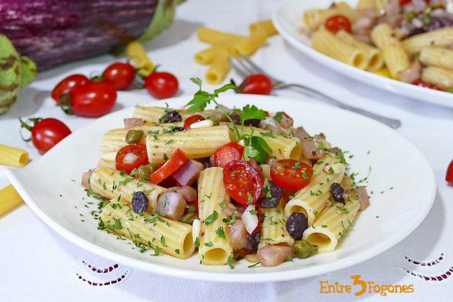 Ensalada De Pasta Con Berenjena Y Tomate Cherry Pasta De Berenjenas Ensalada De Pasta Tomates Cherry