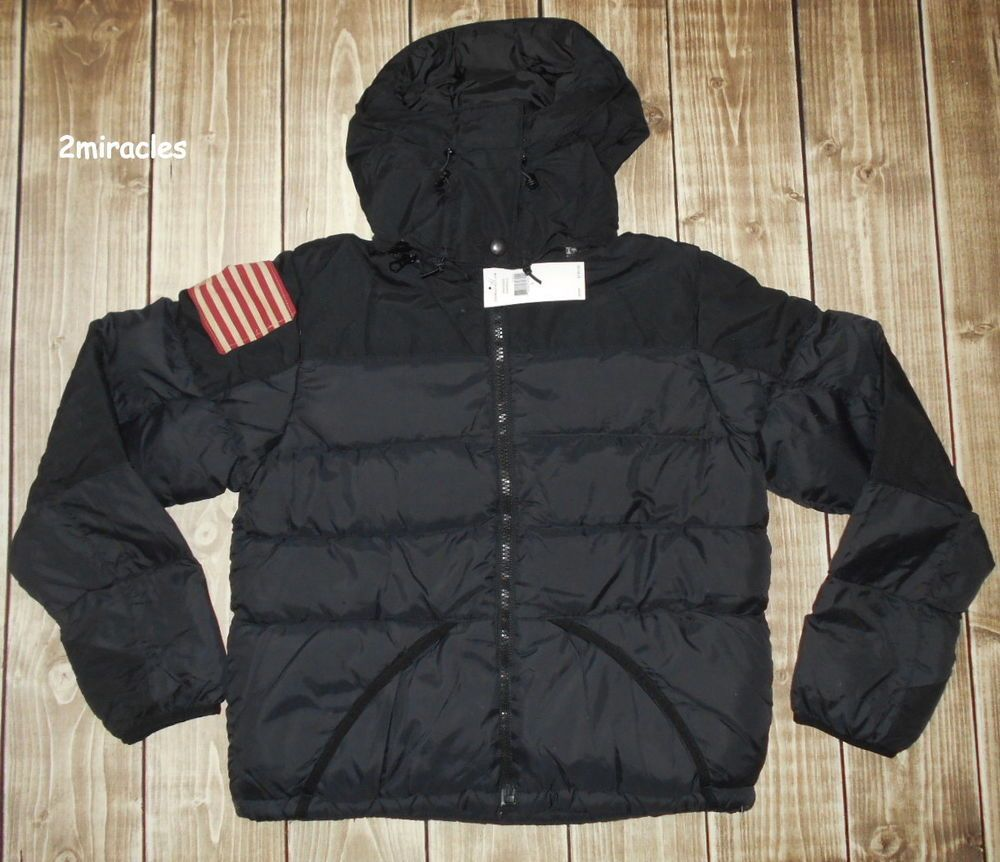 Ralph Lauren Women S Denim Supply Black Puffer Usa Flag Down Coat Jacket L Denim Women Denim Coat Women Down Puffer Coat [ 862 x 1000 Pixel ]