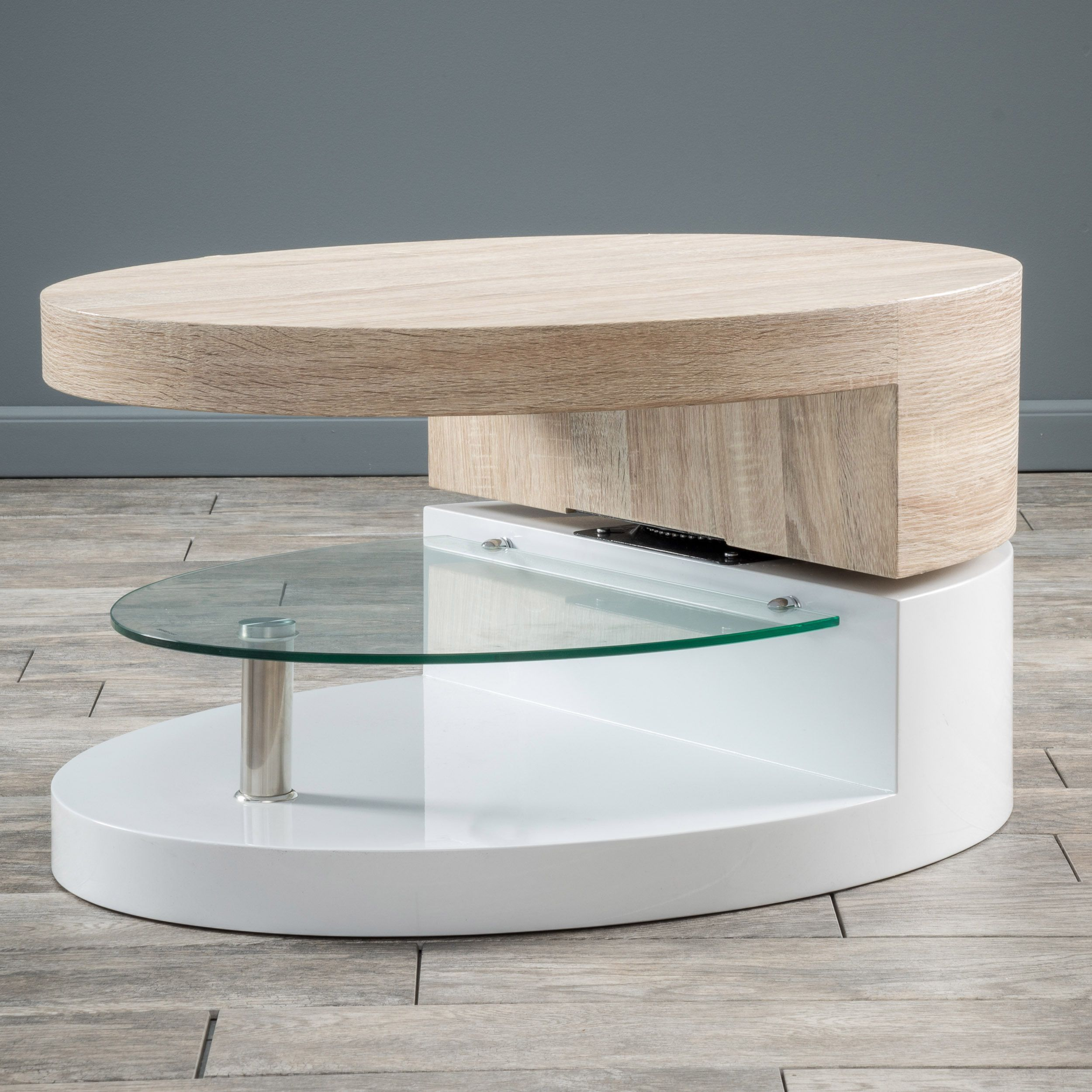 Small Oval Mod Rotatable Coffee Table With Glass By Christopher Knight Home  (Small Glossy White Coffee Table)