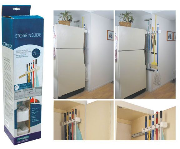 Mop And Broom Storage. Using A Sliding Holder Would Provide Easy Access :)