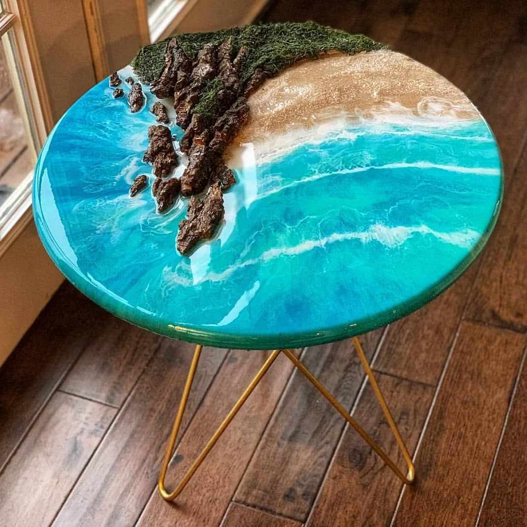 Diy Epoxy Wood On Instagram Tropical Water Resin And Wood Landscape End Table Follow Us Hobbyartclass Diy Resin Table Epoxy Resin Wood Wood Resin Table
