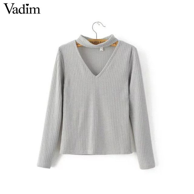 Women sexy cut out V neck halter shirts basic blouses long sleeve slim solid brief female casual European tops blusas LT1272