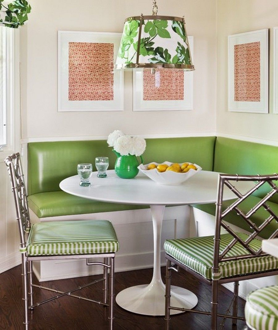 Kitchen attractive white wooden laminate corner breakfast nook green leather cushion metal - Kitchen table nooks ...
