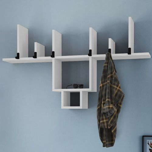 Moonachie Wall Mounted Coat Rack Brick Barrow Finish White