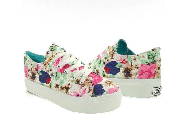 Trampki Gruba Podeszwa K145406 Flores Blanco Wielokolorowe Baby Shoes Shoes Fashion