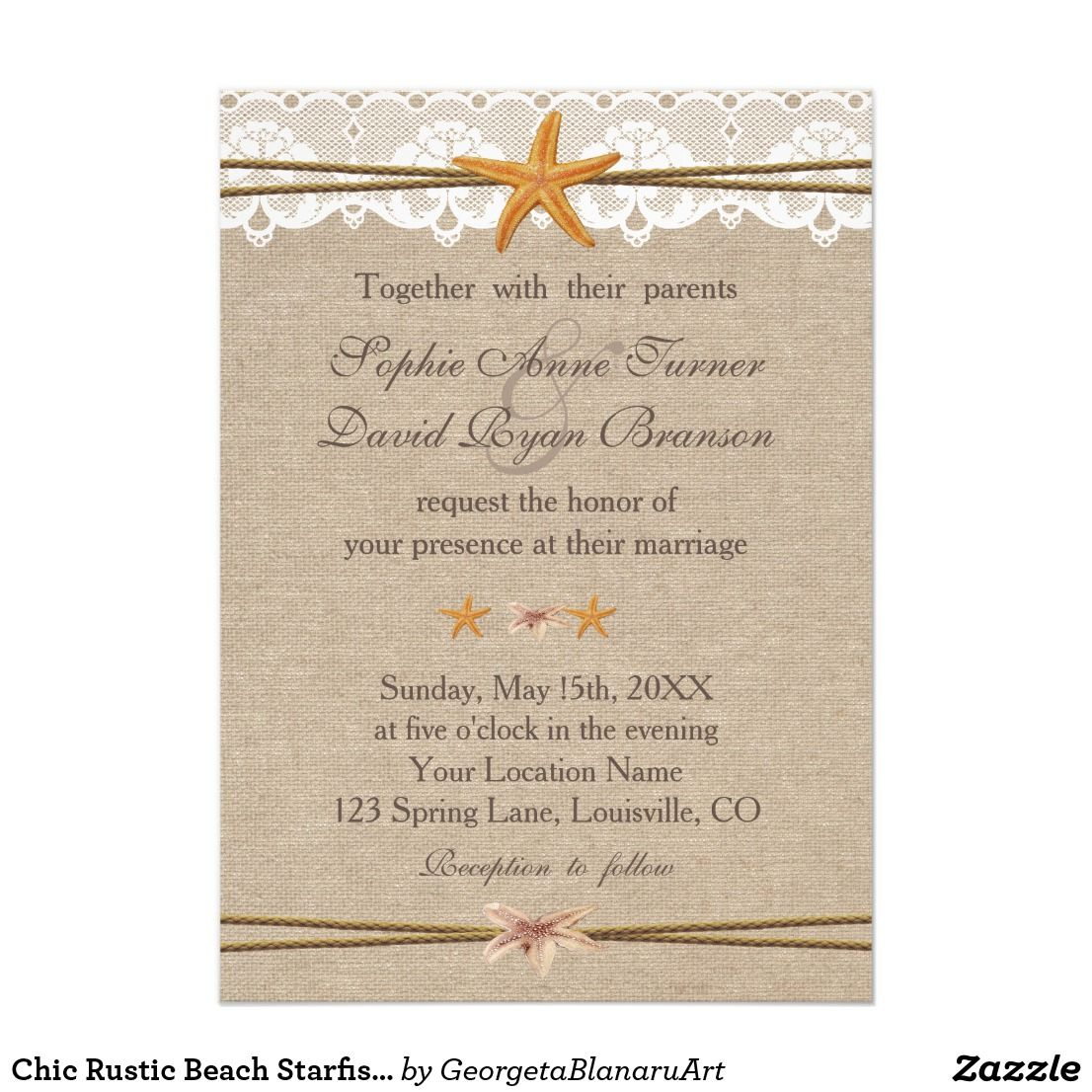 Chic Rustic Beach Starfish Lace Wedding Invite | Wedding & Bridal ...
