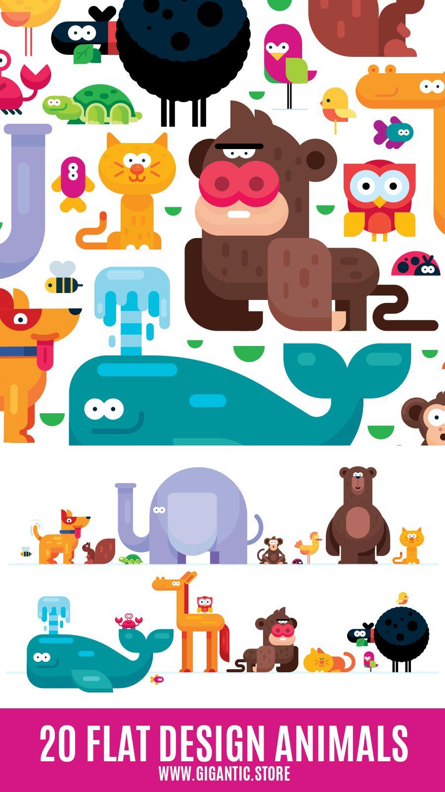 20 Flat Design Animals Download Vector Files Animal Icon Design Pixel Art Design Flat Design