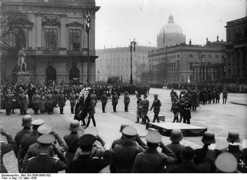 August von Mackensen, Adolf Hitler, Werner von Blomberg, Hermann Göring, Werner von Fritsch, and Erich Raeder at a memorial ceremony, Berlin, Germany, 8 Mar 1936