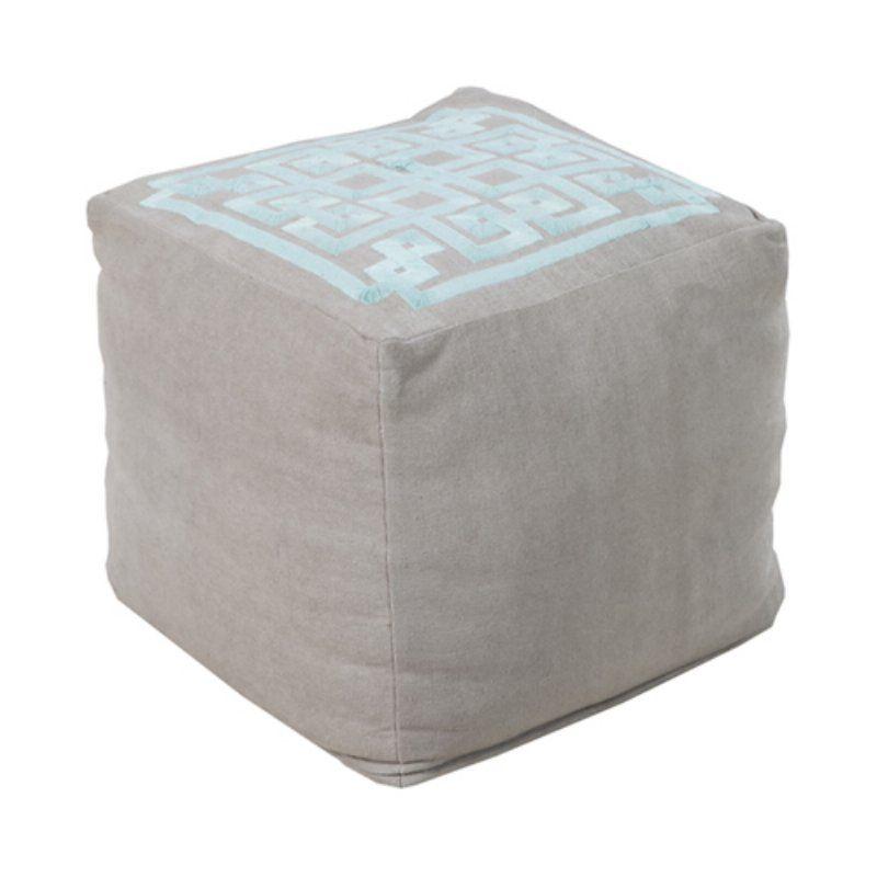 Surya 18 in. Cube Linen Greek Key Pouf