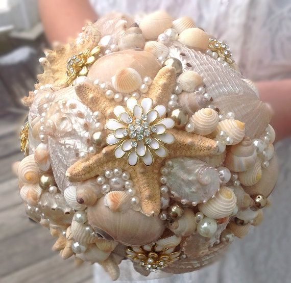 Starfish Bouquet Gold Seashell Beach Wedding Nautical