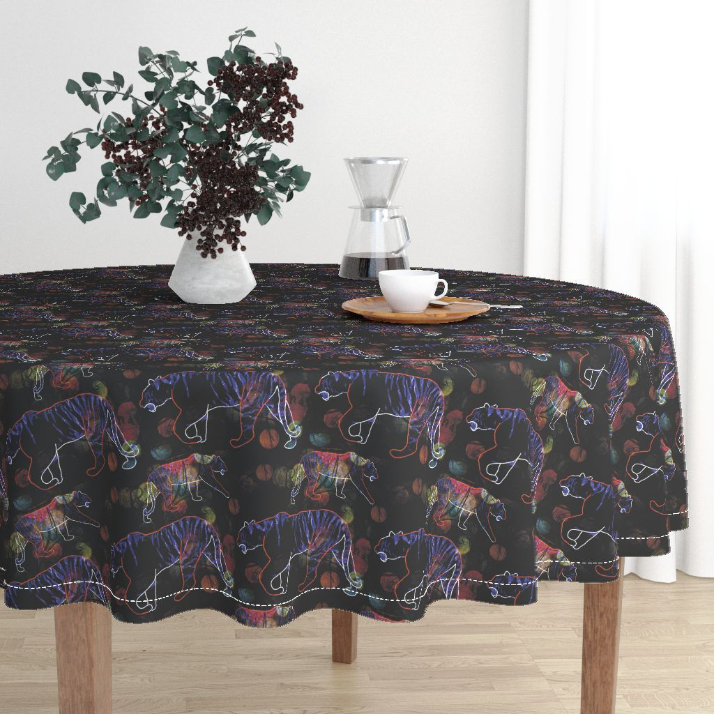 Colorful Fabrics Digitally Printed By Spoonflower Stalking Tiger Dark 1 Round Tablecloth Black Round Dining Table Table Cloth