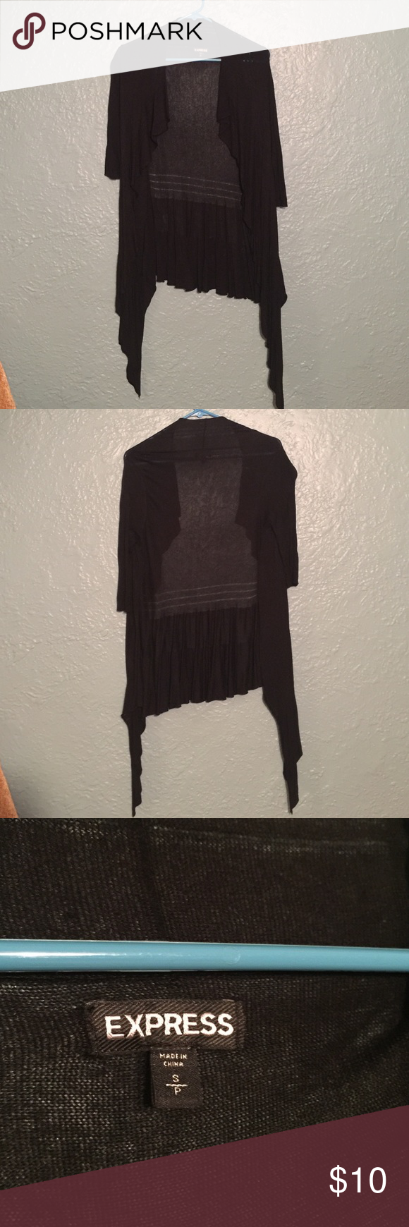 Black sweater shrug Looks great over dresses. 3/4 sleeve, flare skirt. Express Sweaters Shrugs & Ponchos