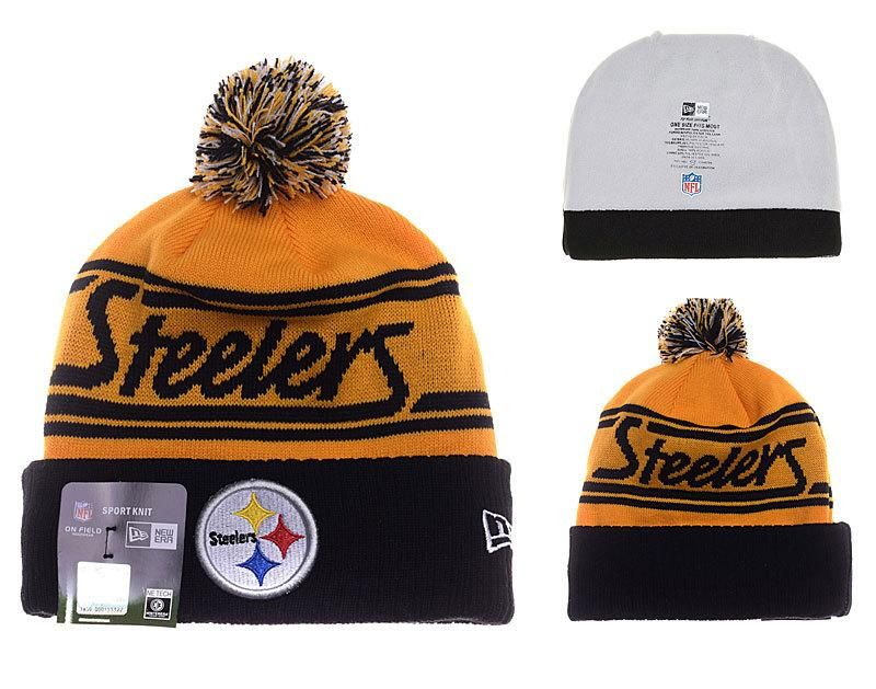 b23d4690576 ... norway mens womens pittsburgh steelers new era gold pom fire cuffed knit  beanie hat with pom