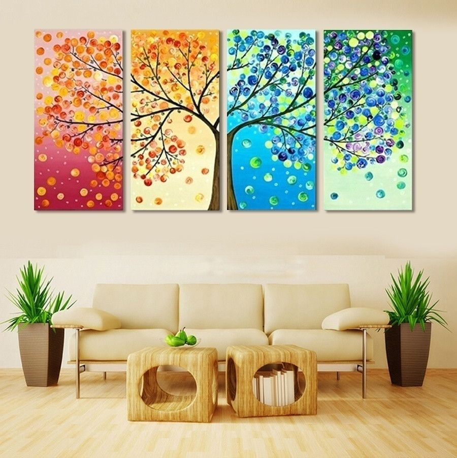Home Decor Paint: 4 Piece Frameless Colourful Leaf Trees Canvas Painting