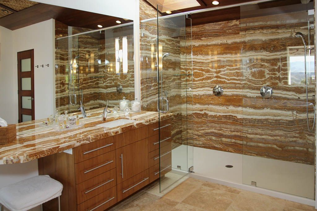 Stone Slab On Shower Wall Google Search Corian Shower Walls Shower Wall Panels