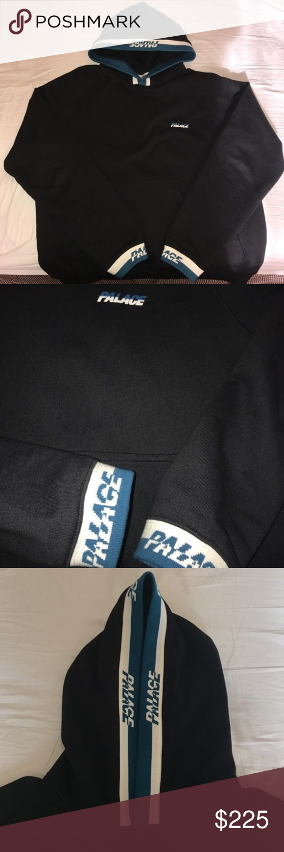 PALACE SPLITTER HOODIE BLACK/BLUE SIZE MEDIUM - worn once not my style - brand new essentially - willing to trade for palace supreme bape gucci ftp vlone nike adidas palace Shirts Sweatshirts & Hoodies