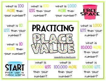 Here are two different game boards for enhancing place value ...
