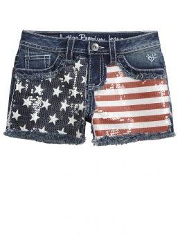 a9167b95a221a Heavy Stitch Flag Printed Denim Shorts