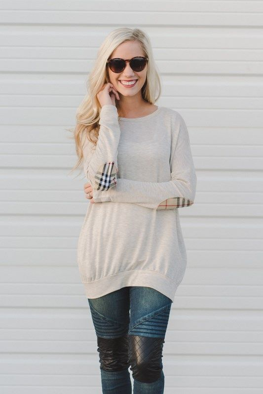 Pullover + Plaid Elbow Patch!