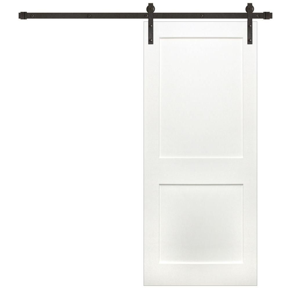 Pacific Entries 36 In X 84 In Shaker 2 Panel Primed Wood Interior Sliding Barn Door With Bronze Hardware Kit P3220 36 10b The Home Depot Interior Barn Doors Interior Sliding Barn Doors Barn