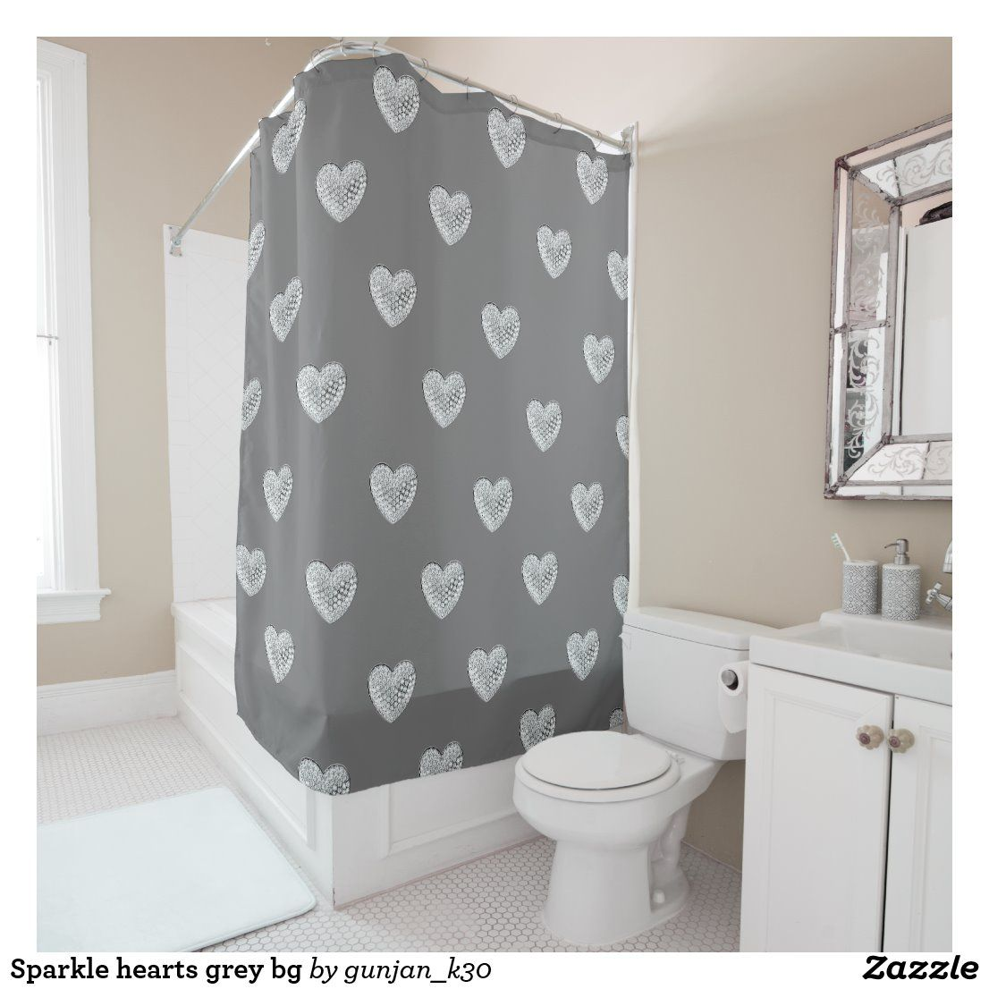 Sparkle Hearts Grey Bg Shower Curtain Zazzle Com In 2020 Custom Shower Curtains Shower Curtain Curtains
