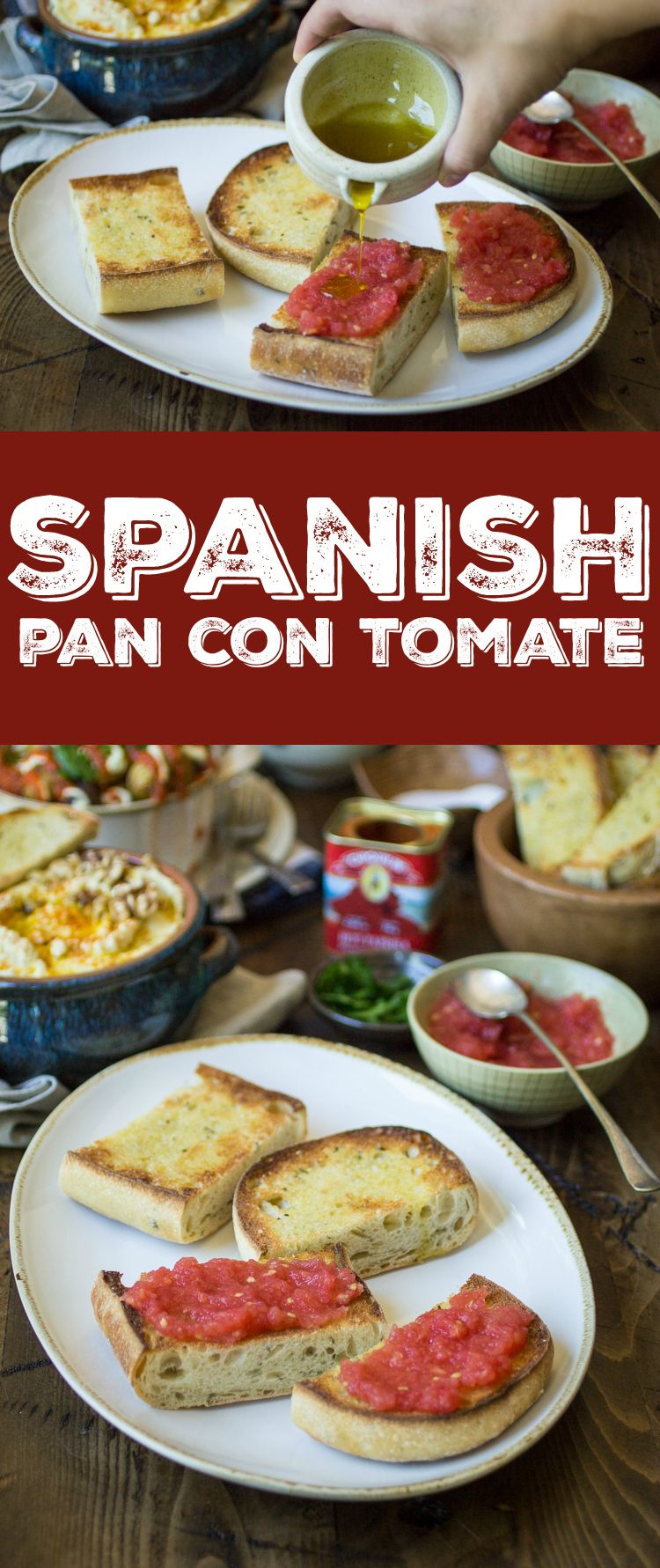Pan con Tomate (bread with tomato) just might be the easiest– yet tastiest!– appetizer you'll ever make. Pair with a few Spanish tapas to create a filling and delectable meal! #spanishmeals