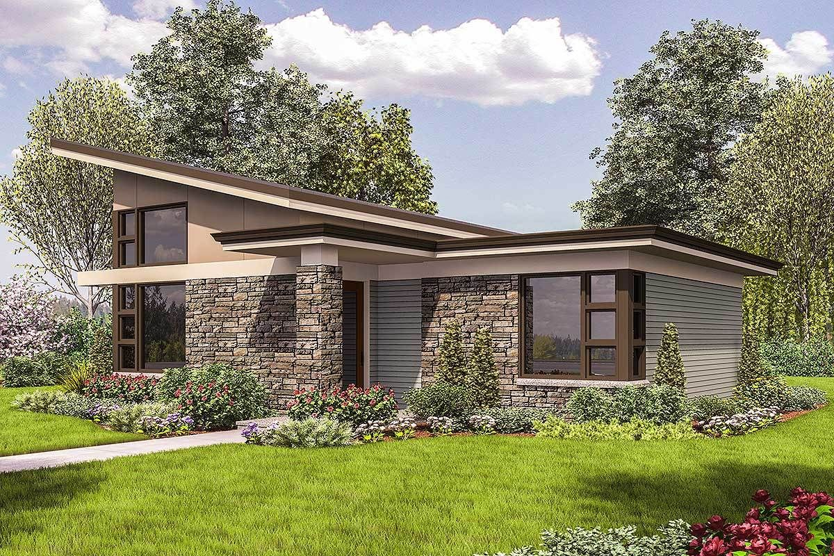 69537am rendering front 1522677697 small contemporary house plans midcentury modern house plans small modern