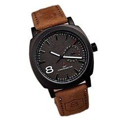 forma simples assuntos de negócios de luxo de couro relógio de quartzo relógio de pulso banda masculina