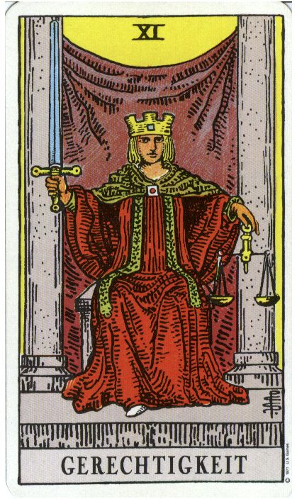 Justice From The Rider Waite Tarot