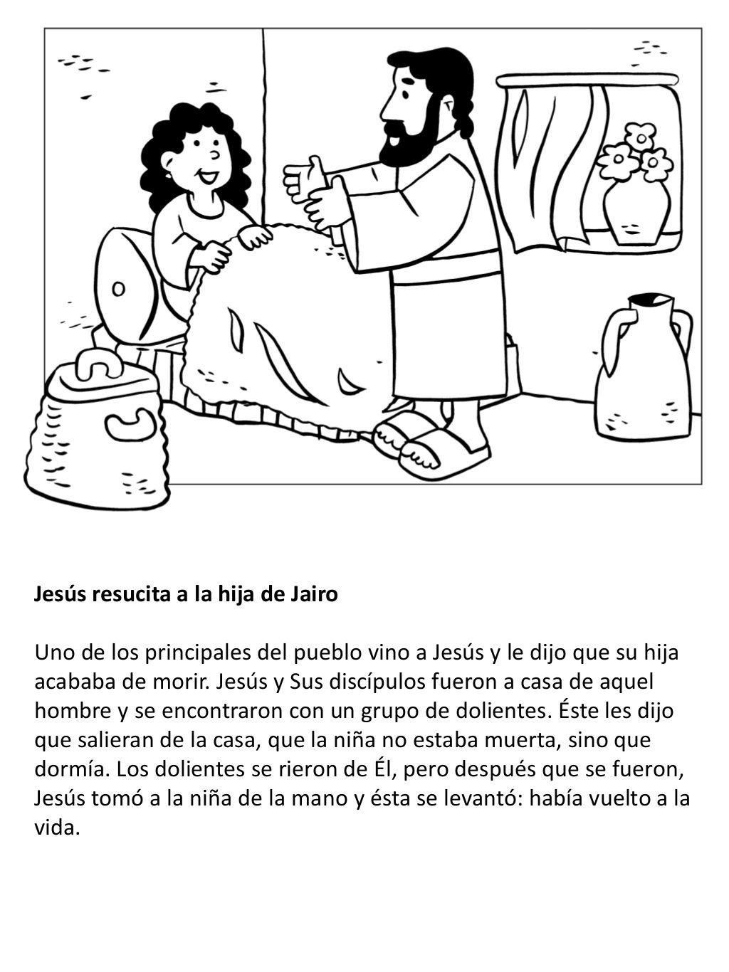 La Vida De Jesús Para Niños Libro Para Colorear En 2021 Páginas Para Colorear De Biblia La Hija De Jairo Libros Para Colorear