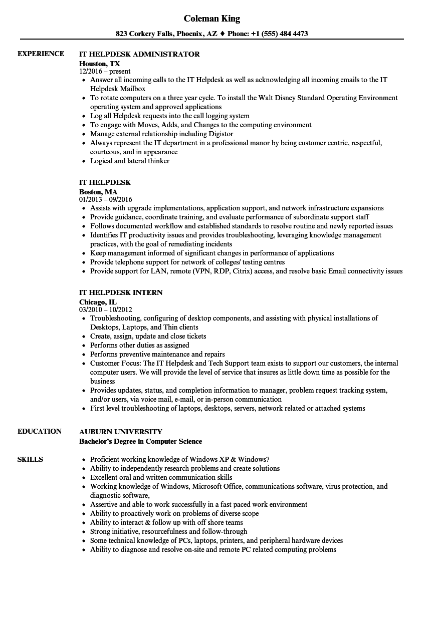 IT Helpdesk Resume Samples / Velvet Jobs, , Project