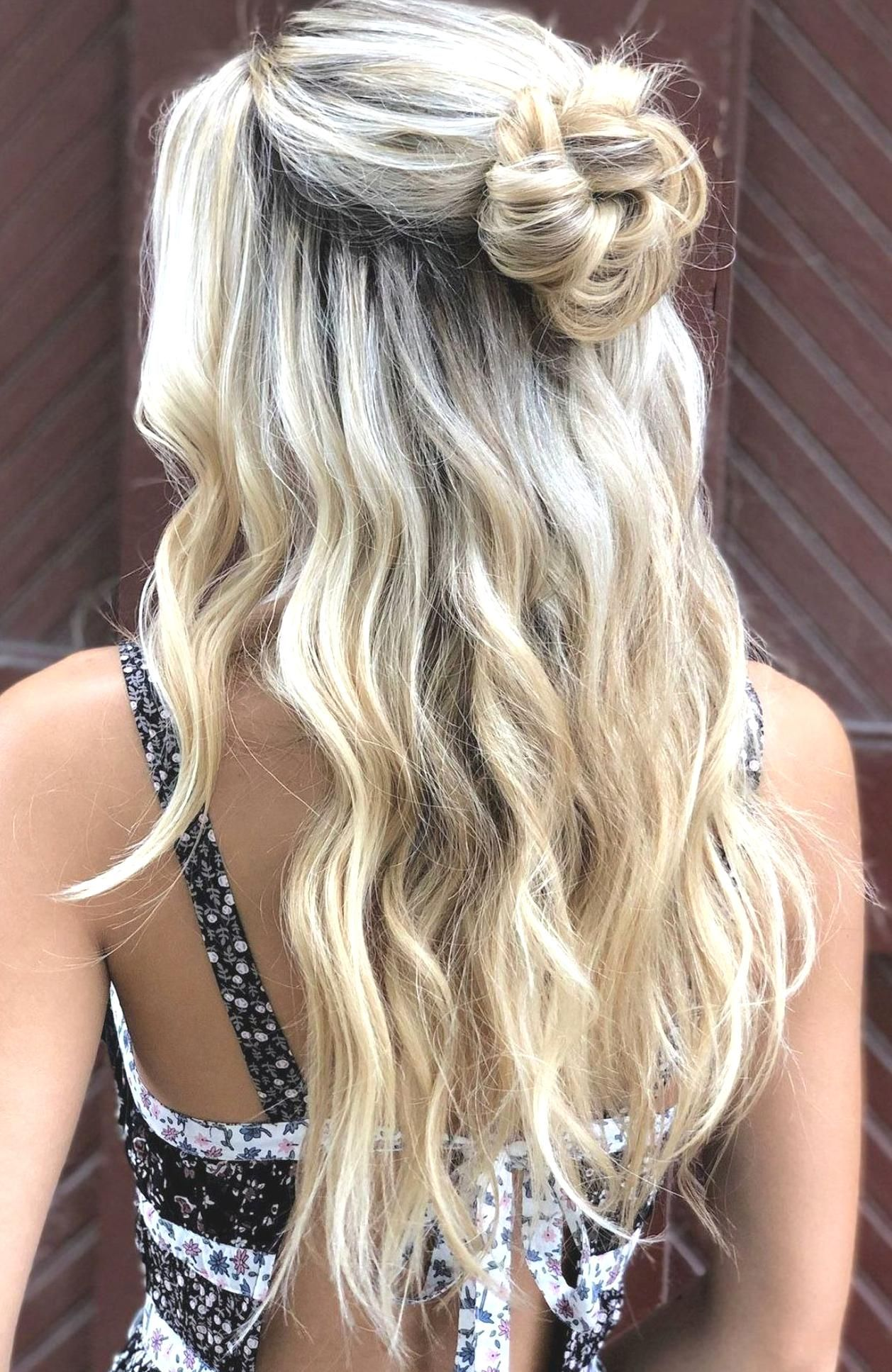 half up hairstyle with loose waves messy bun hairstyle by goldplaited in 2020 | Half up hair ...