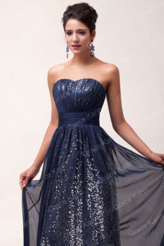 Grace Karin Strapless Sequins Chiffon Bridesmaid Evening Prom Party Long Dresses | eBay